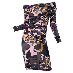 New ESCADA Multi Animal Leopard Print Lightweight Wool Off The Shoulder Dress