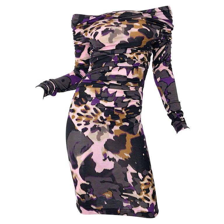 New ESCADA Multi Animal Leopard Print Lightweight Wool Off The Shoulder Dress For Sale