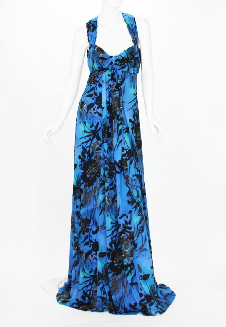 New ETRO Jersey Floral Print Long Dress Italian Size 44 – US 8/10 Colors – Blue, Black. Baby Doll Style, Slip-on, Stretch Jersey Fabric, Fully Lined, No Zipper. Measurements approx. : Length - 66 inches, Under the bust - 32 inches + stretch. Made in