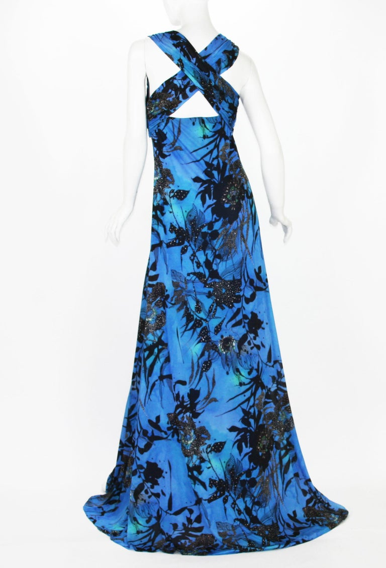 New ETRO Jersey Blue Black Floral Print Long Dress It. 44 - US 8/10 In New Condition For Sale In Montgomery, TX