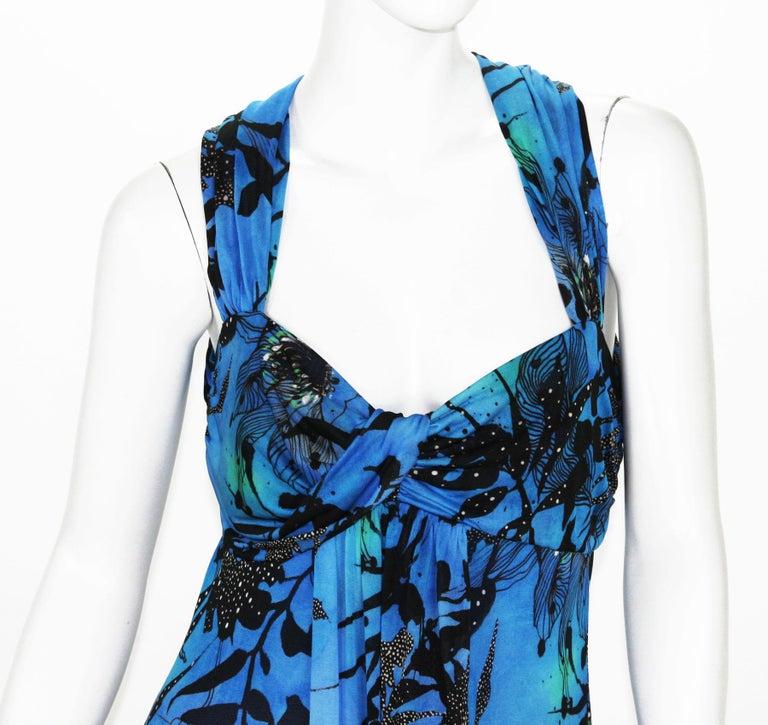 Women's New ETRO Jersey Blue Black Floral Print Long Dress It. 44 - US 8/10 For Sale
