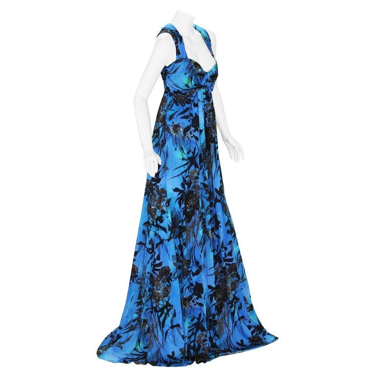 New ETRO Jersey Blue Black Floral Print Long Dress It. 44 - US 8/10 For Sale