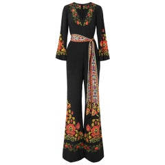 New ETRO Printed Silk Crepe de Chine Jumpsuit with Belt It. size 38