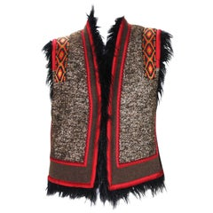 New Etro Shearling Wool Jacket Vest with Micro-Beads Application Italian 44