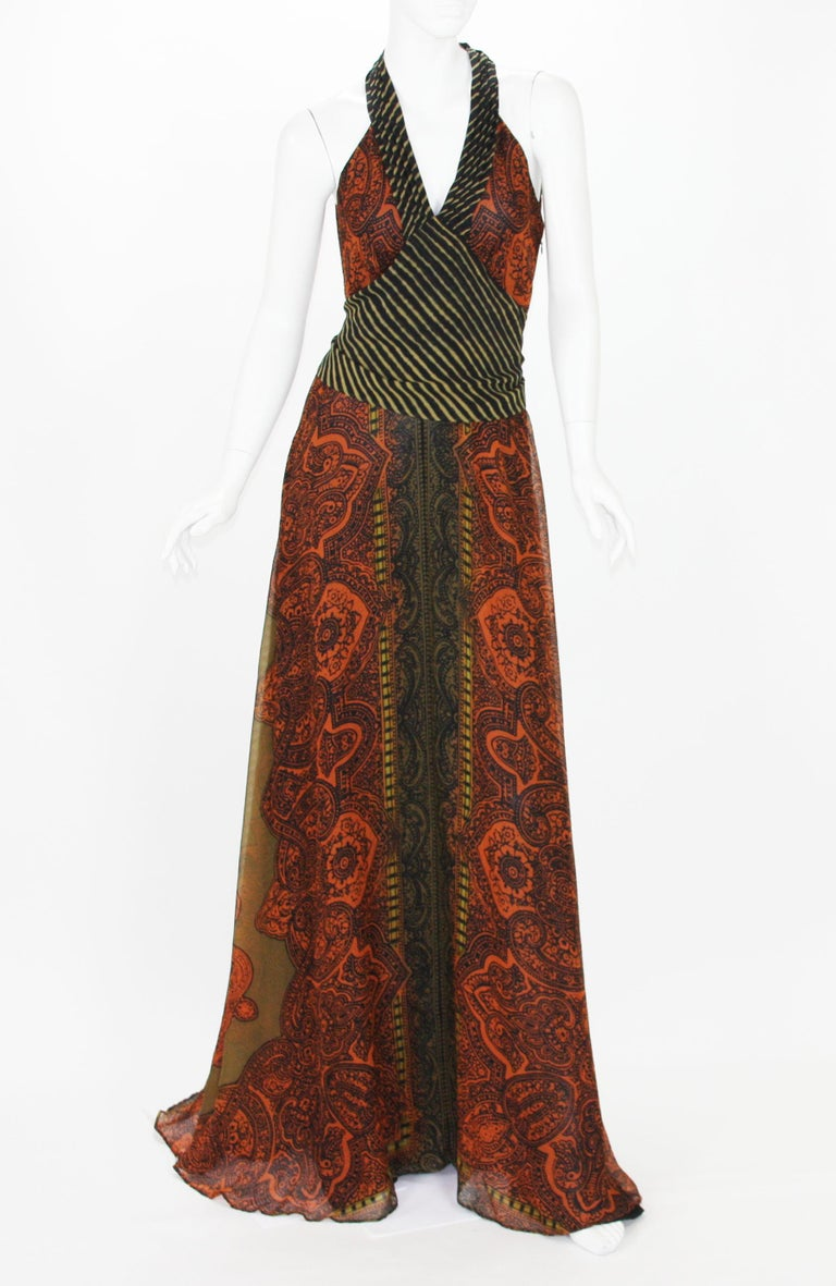 New Etro Silk Paisley Long Dress with Belt Designer size 42 100% Silk, Famous Etro Paisley Print, Orange and Black Colors, Attached Belt, Side Zip Closure, Fully Lined in Black Silk.  Measurements approx. : Length - 67 inches, Bust - 32 inches,