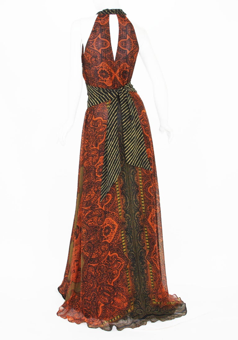 Brown New Etro Silk Paisley Print Orange Black Long Dress with Belt It. 42 For Sale