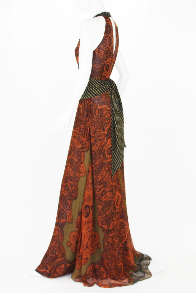 New Etro Silk Paisley Print Orange Black Long Dress with Belt It. 42 In New Condition For Sale In Montgomery, TX