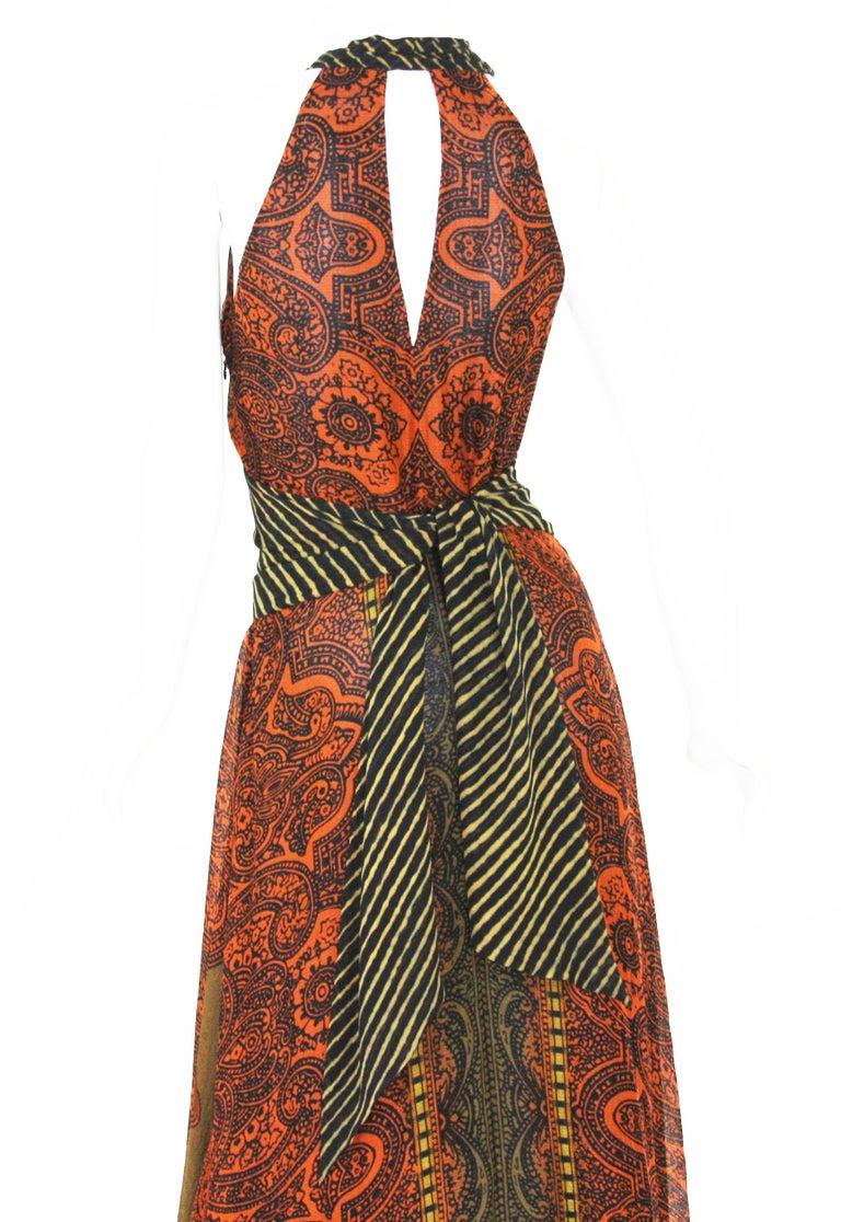 New Etro Silk Paisley Print Orange Black Long Dress with Belt It. 42 For Sale 2