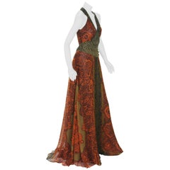 New Etro Silk Paisley Print Orange Black Long Dress with Belt It. 42