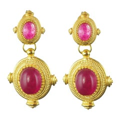 New Etruscan Spirit Pink Cristal Vermeil Dangle Earrings
