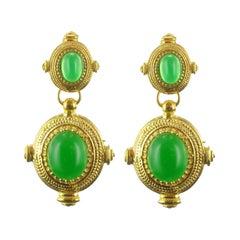 New Etruscan Spirit Vermeil Green Cristal Dangle Earrings