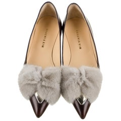 New Eugenia Kim Leather Mink Pointed Toe Flats Shoes Sz 39  U.S. 8.5