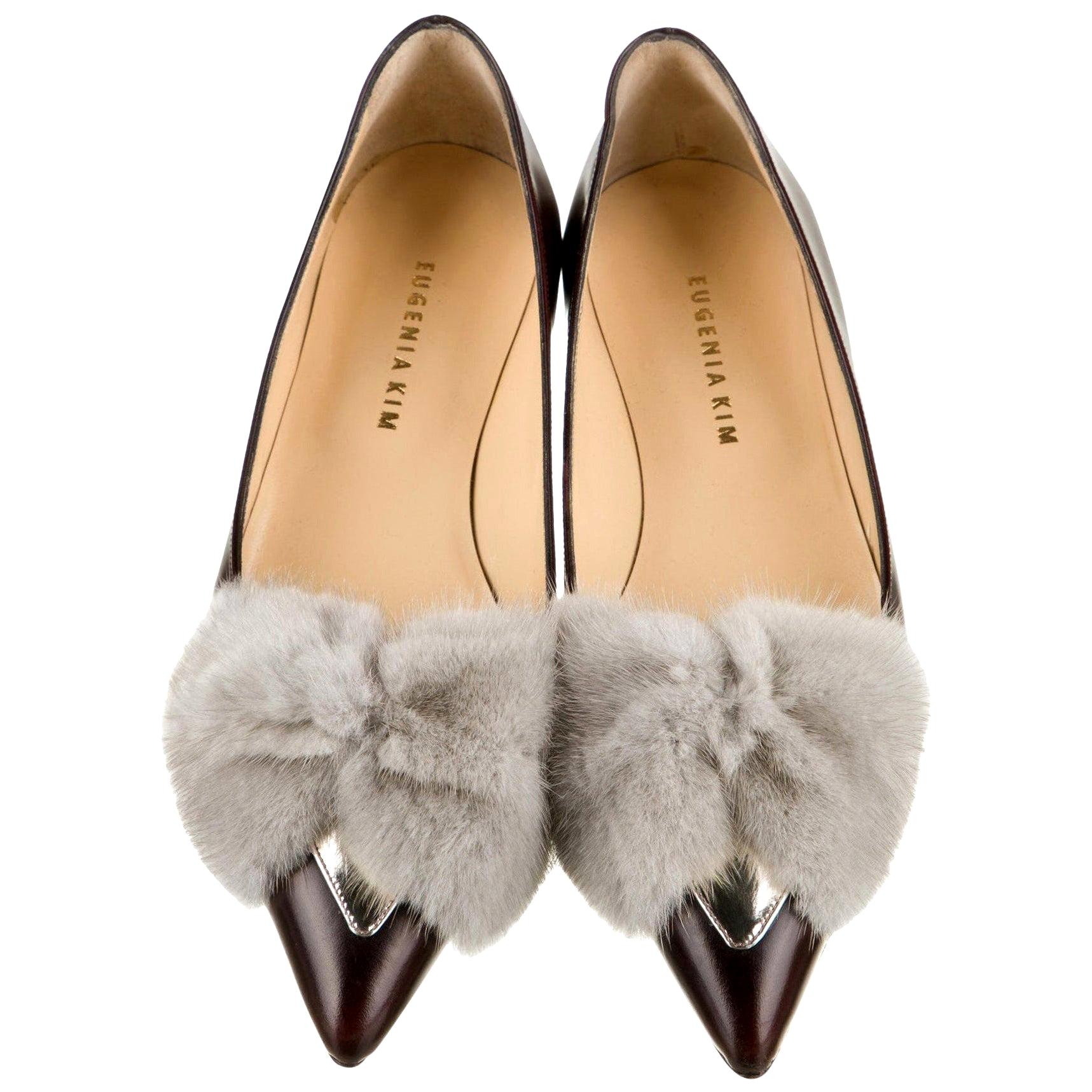 New Eugenia Kim Leather Mink Pointed Toe Flats Shoes Sz 39  U.S. 8.5