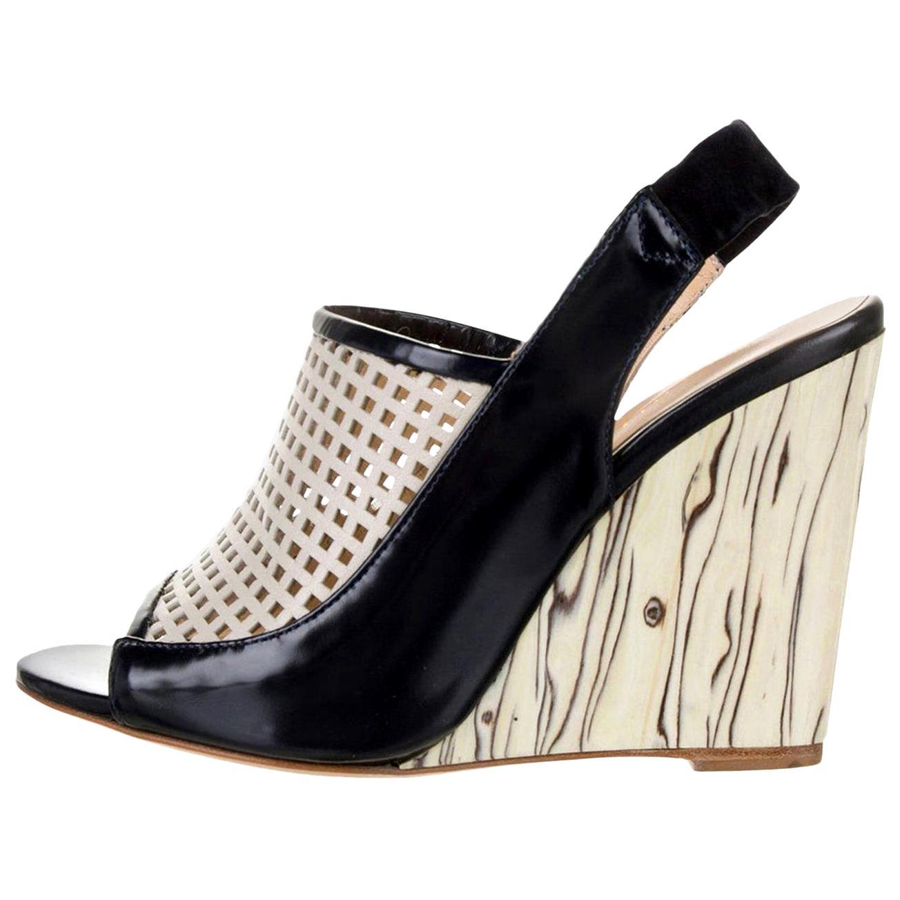 New Eugenia Kim Leather Wedge Heels Sz 39  U.S. 8.5