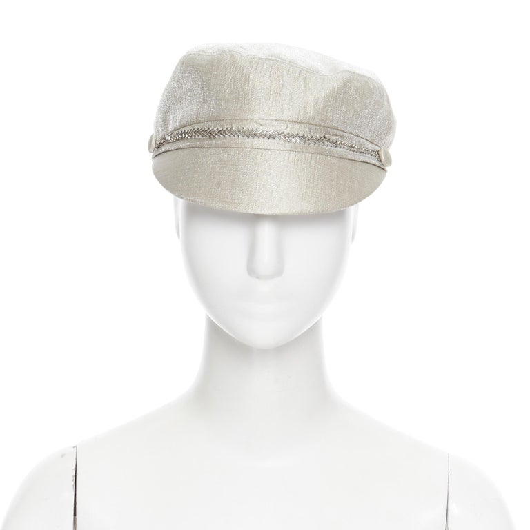 new EUGENIA KIM mint champagne silver bead embellished newsboy hat  Brand: Eugenia Kim Designer: Eugenia Kim Model Name / Style: Newsboy hat Material: Fabric Color: Silver Pattern: Solid Extra Detail: Short beak. Bead embellishment. Made in: