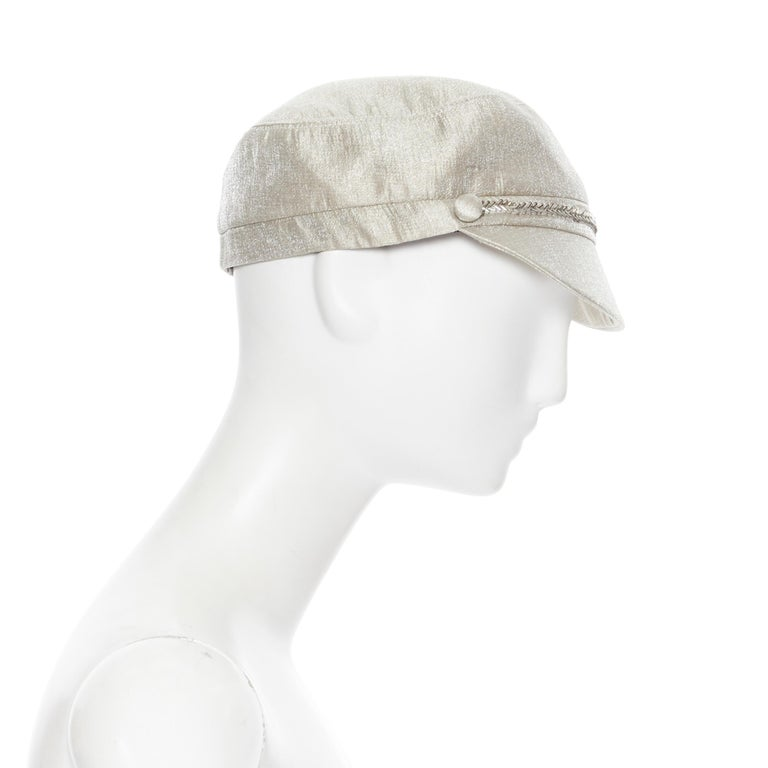 Silver new EUGENIA KIM mint champagne silver bead embellished newsboy hat For Sale