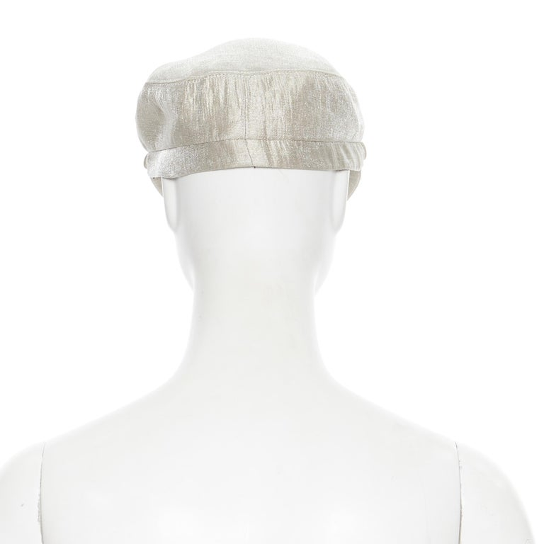 new EUGENIA KIM mint champagne silver bead embellished newsboy hat In New Condition For Sale In Hong Kong, NT