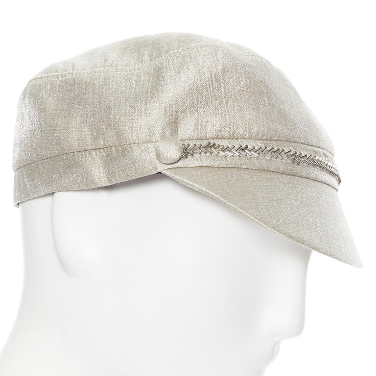 Women's new EUGENIA KIM mint champagne silver bead embellished newsboy hat For Sale