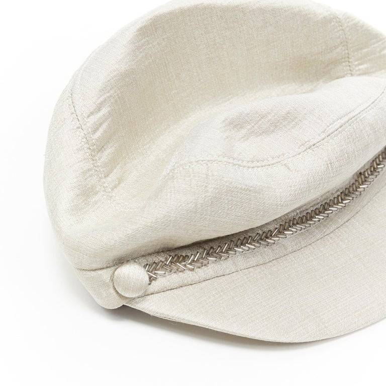 new EUGENIA KIM mint champagne silver bead embellished newsboy hat For Sale 1