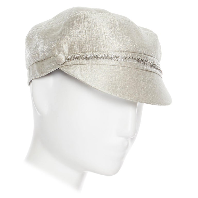 new EUGENIA KIM mint champagne silver bead embellished newsboy hat For Sale