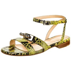 New Eugenia Kim Yellow Python Sandals Flats Shoes Sz 39  U.S. 8.5