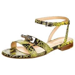 New Eugenia Kim Yellow Python Sandals Flats Shoes Sz 39  U.S. 8.5