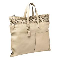 NEW Exotic FENDI Ivory Selleria Leather Shoulder Bag XL Size