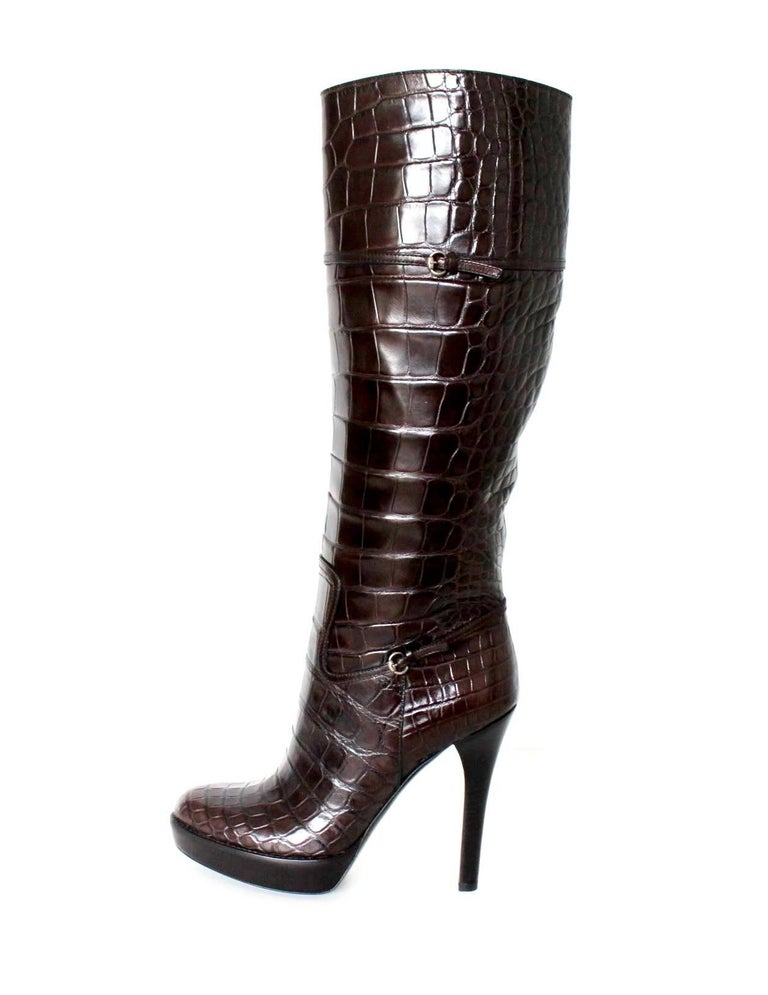 Black NEW Exotic Gucci Brown Extra Tall Alligator Skin High Heels Boots For Sale