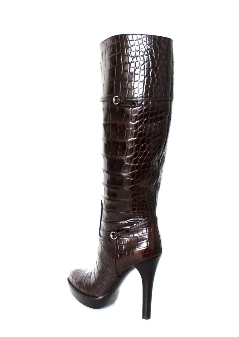 Women's NEW Exotic Gucci Brown Extra Tall Alligator Skin High Heels Boots For Sale