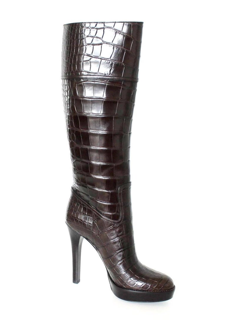 NEW Exotic Gucci Brown Extra Tall Alligator Skin High Heels Boots For Sale 1
