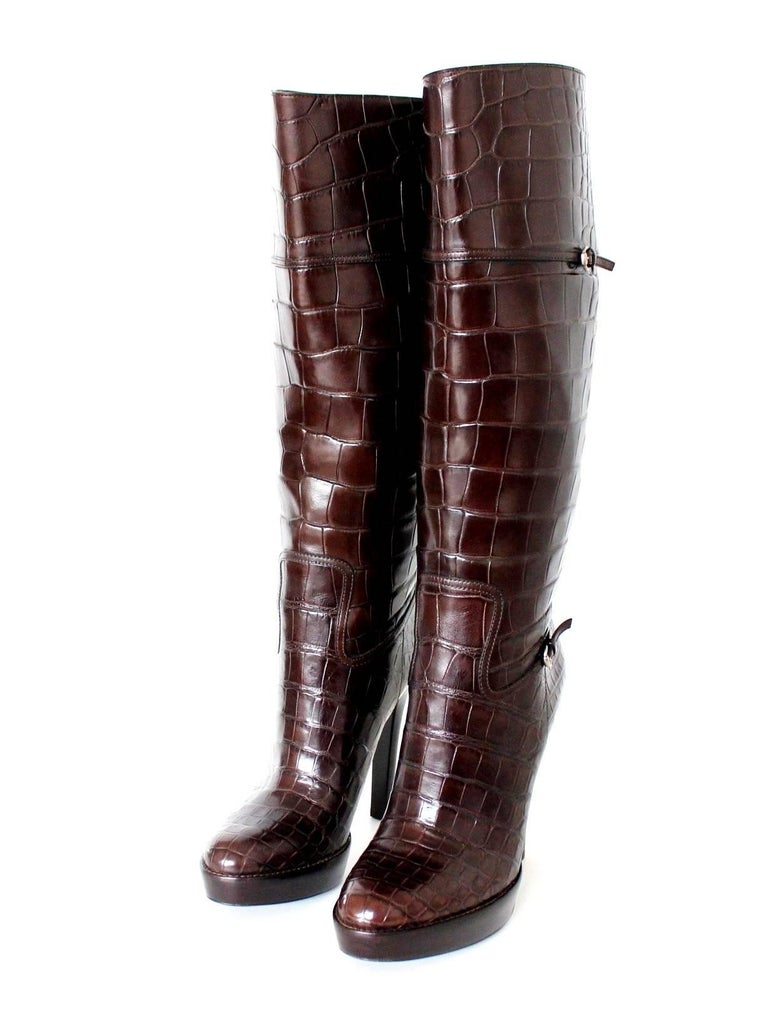 NEW Exotic Gucci Brown Extra Tall Alligator Skin High Heels Boots For Sale 2