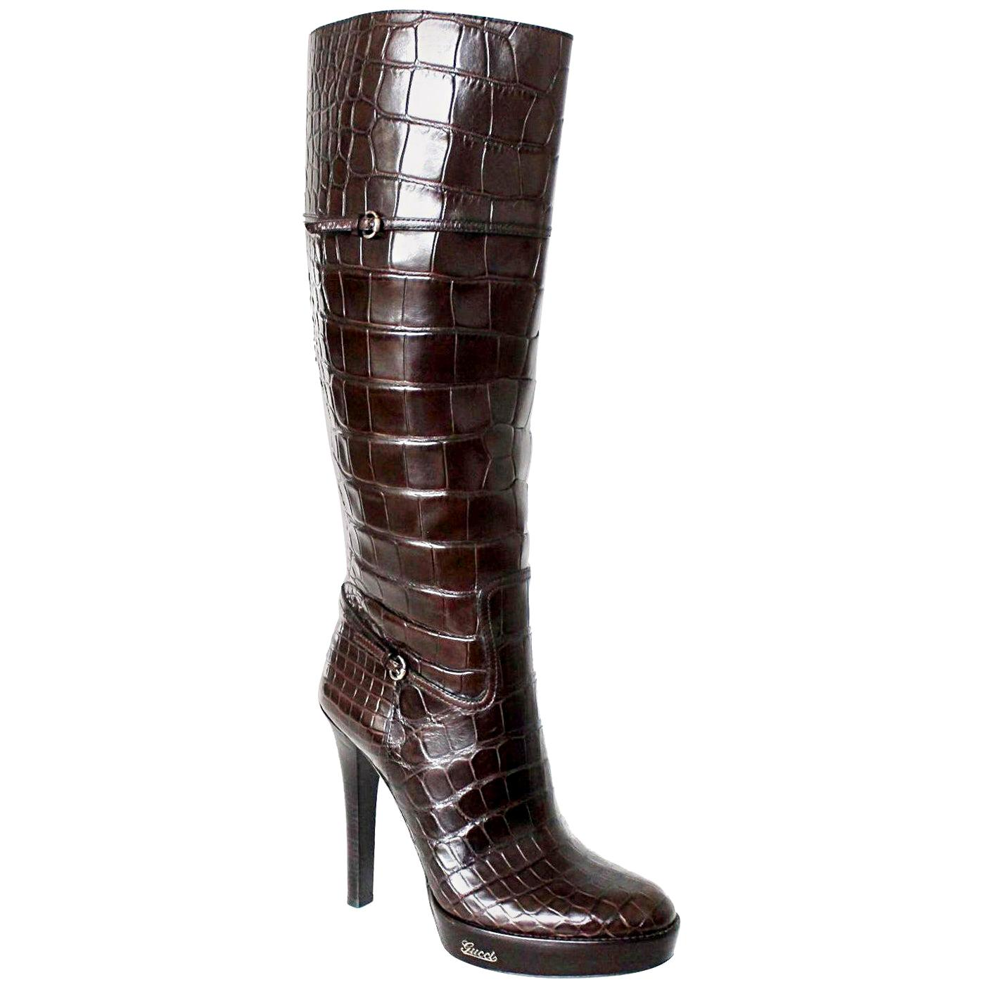 NEW Exotic Gucci Brown Extra Tall Alligator Skin High Heels Boots