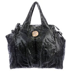 NEW Exotic XL Gucci Black Python Skin Tote Shoulder Bag with Gucci Crest Logo