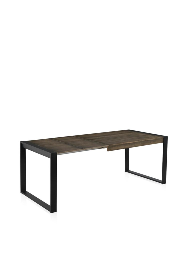New extendable dining table for indoor and outdoor with wood top and iron structure.  You can choose the color, the color structure and the measure.  Table measurements: 49.60 in x 31.50 in ( with two leaves includes, each leave it´s 15.75in ) total