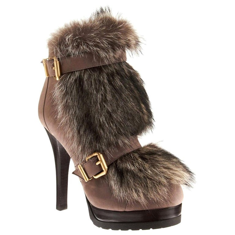New Fendi Ad Runway Fur and Suede Platform Boots Booties Sz 37 For Sale