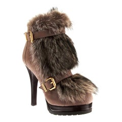 New Fendi Ad Runway Fur and Suede Platform Boots Booties Sz 37