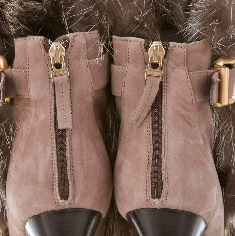 New Fendi Ad Runway Fur and Suede Platform Boots Booties Sz 39 For Sale 5