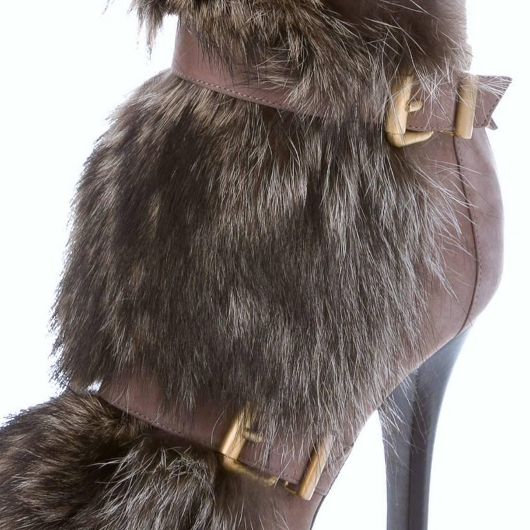New Fendi Ad Runway Fur and Suede Platform Boots Booties Sz 39 For Sale 7