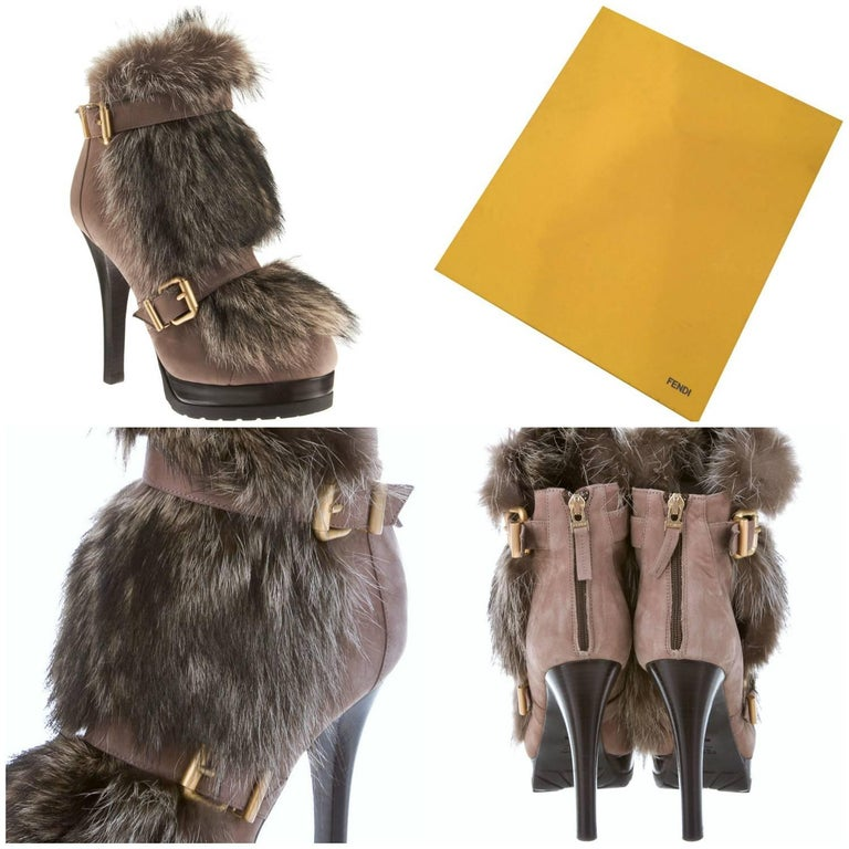 Fendi Fur Boots Brand New * Euro: 39   * Stunning Beaver Fur Lines the Front and the Inside of the Boots * Soft Taupe Nubuck Leather * Zips up the Back * 1.25