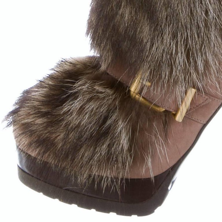 New Fendi Ad Runway Fur and Suede Platform Boots Booties Sz 39 For Sale 2
