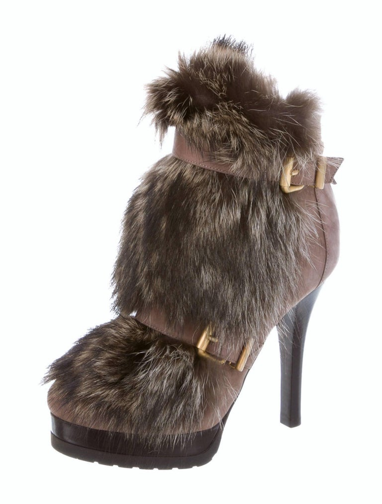 New Fendi Ad Runway Fur and Suede Platform Boots Booties Sz 39 For Sale 3