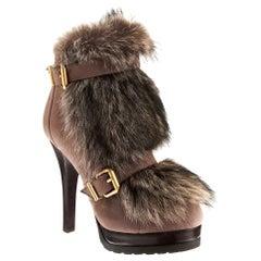 New Fendi Ad Runway Fur and Suede Platform Boots Booties Sz 39