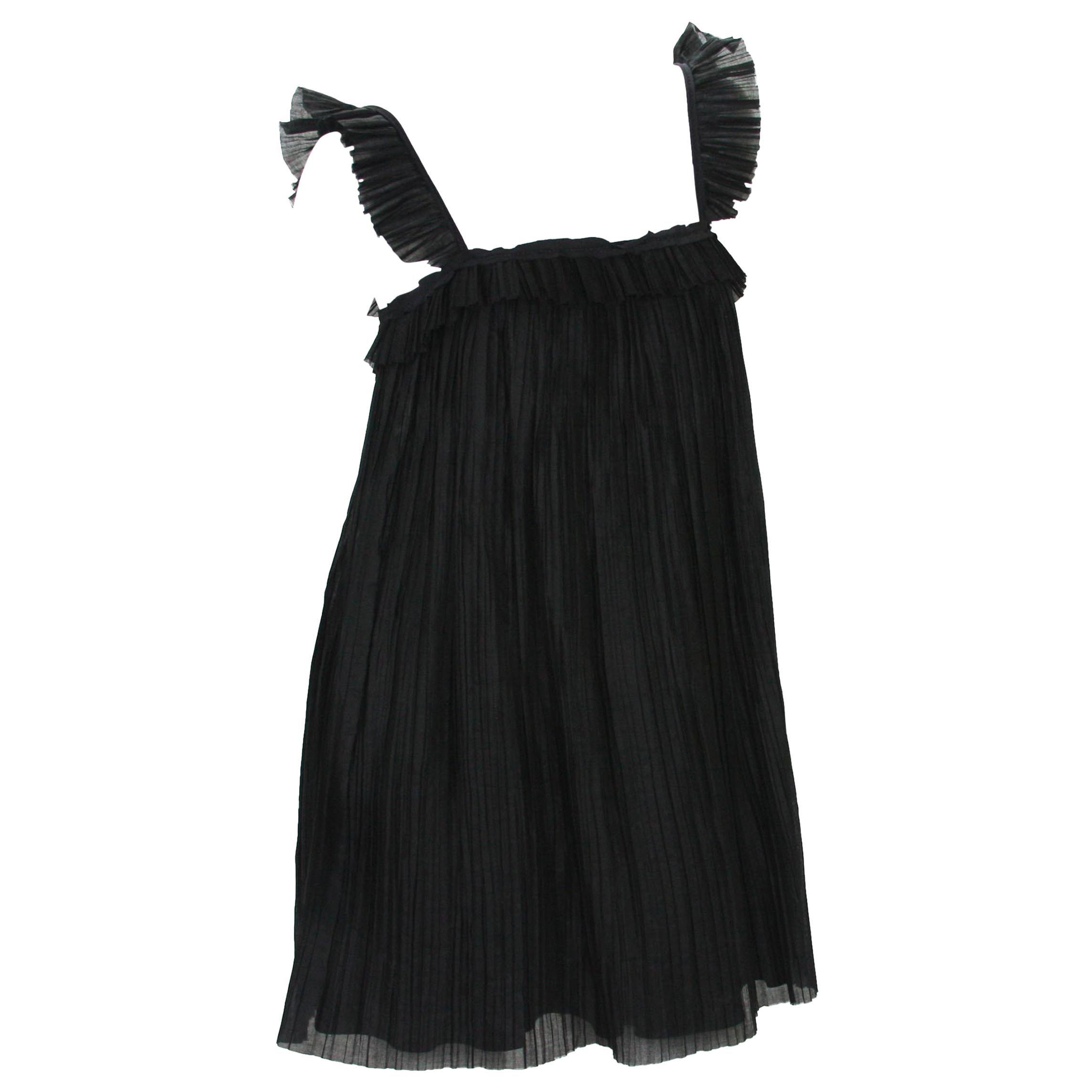 New Fendi Baby Doll Black Plisse-Organza Mini Dress It.42