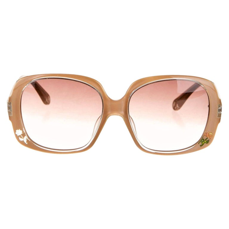 New Fendi Beige Rose Inlaid Sunglasses With Case For Sale