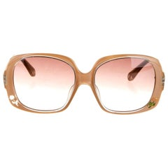 New Fendi Beige Rose Inlaid Sunglasses With Case