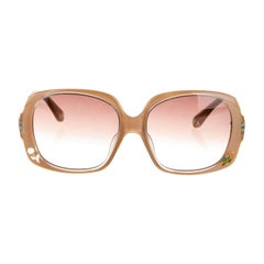 New Fendi Beige with Rose Inlaid Sunglasses With Case