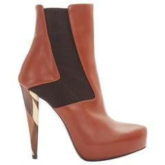new FENDI brown leather elasticated insert wooden heel platform bootie EU37.5