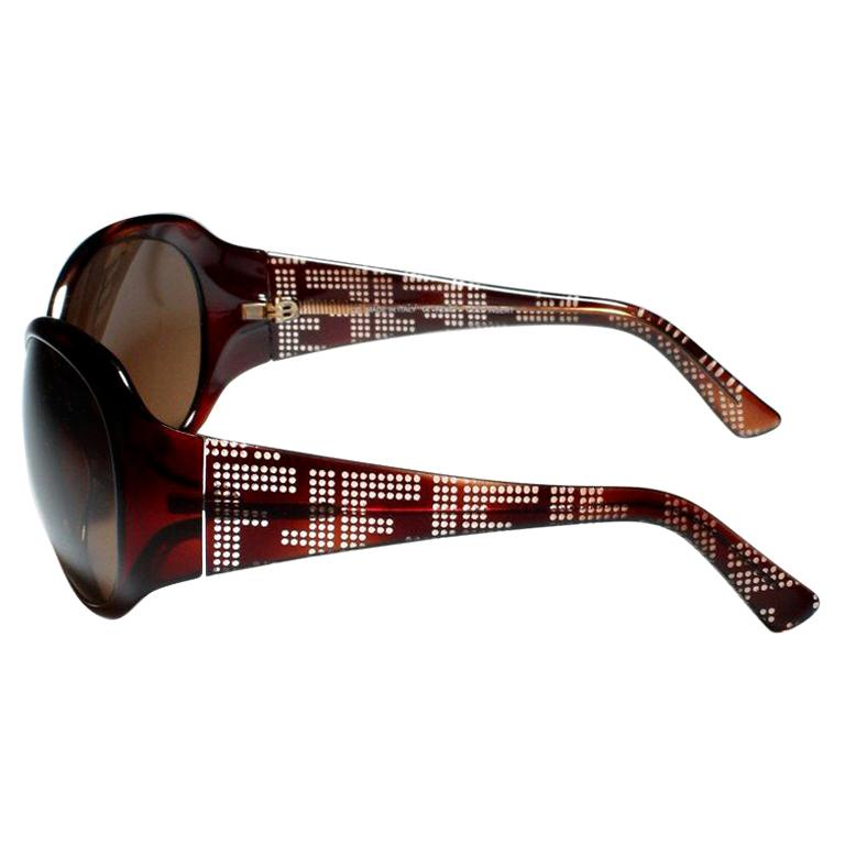 New Fendi Brown Wrap Logo Sunglasses With Case For Sale