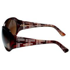 New Fendi Brown Wrap Logo Sunglasses With Case