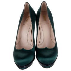 New Fendi Deep Green Satin Platform Pumps Heels Size 37.5 $1050